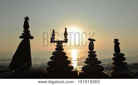 concept of Zen stones and striped Sunrise