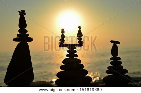 zen stones on the edge of the sea and peace