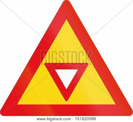 Temporary Road Sign Used In The African Country Of Botswana - Give Way Sign Ahead