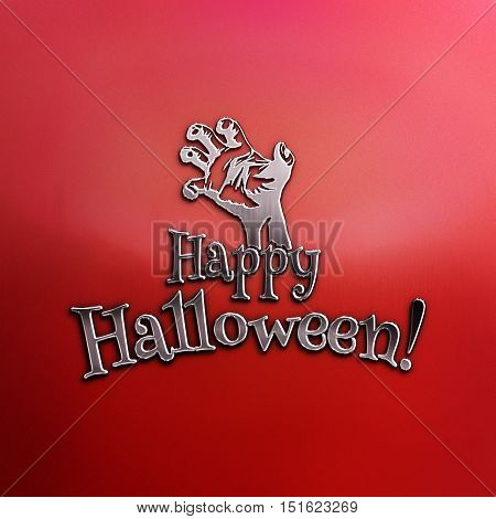 Happy Halloween text with the outstretched hand of zombie. Empty space leaves room for design elements or text. Zombie red Party Poster. Banner. 3D illustration. Nickel plated steel texture.