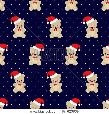 Xmas Teddy Bear with Santa hat seamless pattern on dark blue polka dots background. Cute vector with baby bear. Design for print on baby's clothes, textile, wallpaper, fabric.