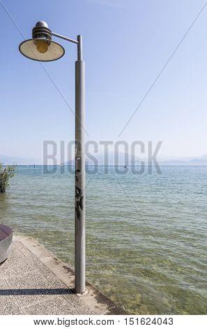 lamppost on the shore of Lake Garda