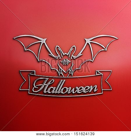 Bats with red eyes. 3D illustration of bat and a ribbon with Halloween text. Nickel plated steel texture. Halloween banner with place for your text or pictures. Red Halloween Poster