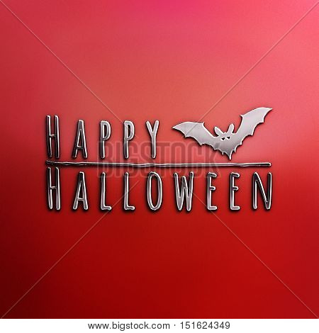 Happy Halloween lettering greeting card. Horizontal banner with a black bat isolated on the grey background. Cartoon style. 3D illustration. Nickel plated steel texture. Red Halloween Poster