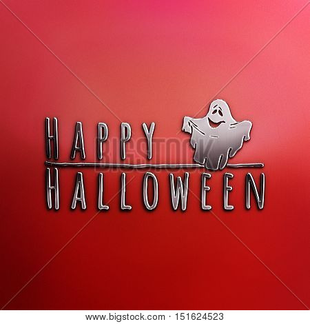 Happy Halloween lettering greeting card. Horizontal banner with a very cute funny ghost isolated on the grey background. Red Halloween Poster. 3d illustration. Nickel plated steel texture.