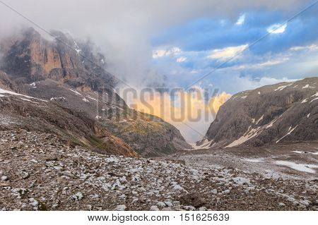Rosetta Mountain in the Pale of San Martino Dolomites Italy