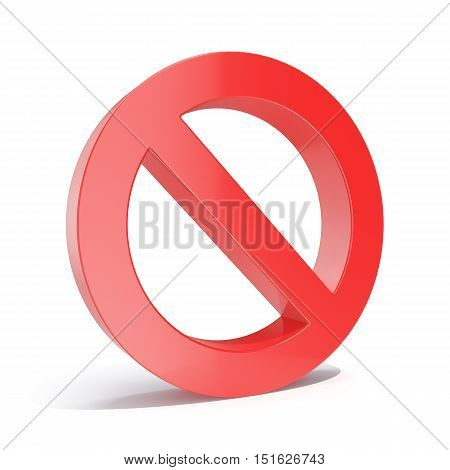 3d illustration red empty forbidden, restricted or prohibited, limit sign isolated on white background.
