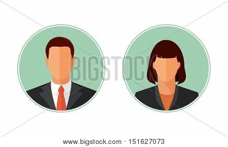 Business man and woman avatars, portraits. Flat style design vector circle illustration isolated on white. Male and female icon set.