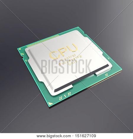 3d illustration central processor unit, CPU isolated on white. 3d illustration.