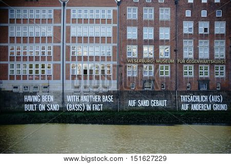 BREMEN, GERMANY - AUGUST 30: The facade of the Weserburg museum a brick building on the banks of the Weser on August 30 2016 in Bremen.