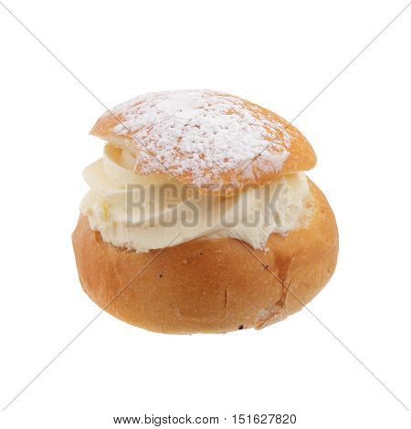 Swedish Semla, a shrove bun, consists of light wheat bread with almond paste and whipped cream filling.
