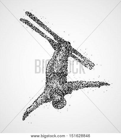 Abstract skier jumping of black circles. Vector illustration.