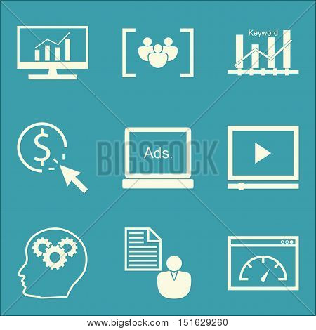 Set Of Seo, Marketing And Advertising Icons On Display Advertising, Creativity, Video Advertising An