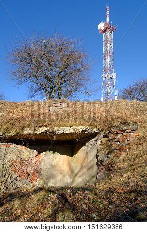 TV tower on escarpment against the blue clear sky