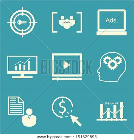 Set Of Seo, Marketing And Advertising Icons On Client Brief, Keyword Ranking, Target Keywords And Mo