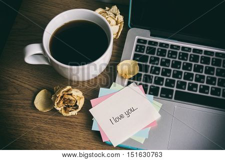 A Cup Of Tea And A Computer, A Word On Paper
