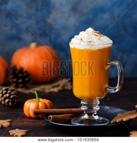 Pumpkin smoothie, spice latte. Boozy cocktail with whipped cream.