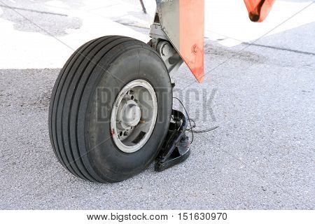 Military airplane wheel. Aircraft wheel. Plane wheel.