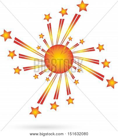 Fireworks, colored, rockets, explosion, lighted stars, logo