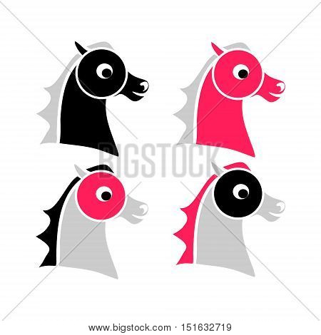 The contour of the horse's head. Set of vector illustrations. A child's drawing of the head pony