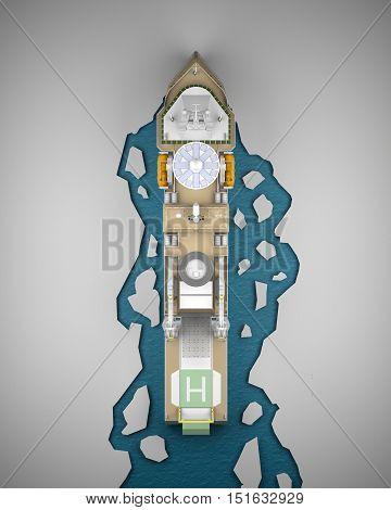 Icebreaker with ice top view. 3d rendering