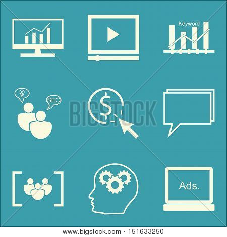 Set Of Seo, Marketing And Advertising Icons On Display Advertising, Online Consulting, Seo Consultin