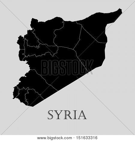 Black Syria map on light grey background. Black Syria map - vector illustration.
