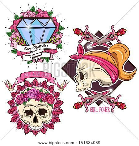 Colored tattoo set with female skull crossed daggers diamond and swallows floral decoration isolated vector illustration