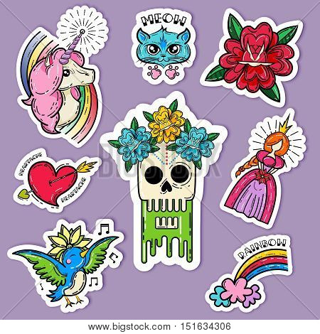 Cartoon tattoo stickers set with cat singing bird princess and rainbow on lilac background isolated vector illustration