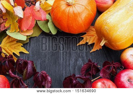 Frame of autumn vegetables and fruits on a black background