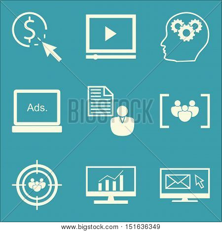 Set Of Seo, Marketing And Advertising Icons On Video Advertising, Pay Per Click, Display Advertising