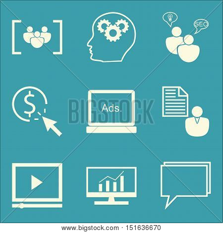 Set Of Seo, Marketing And Advertising Icons On Seo Consulting, Pay Per Click, Online Consulting And