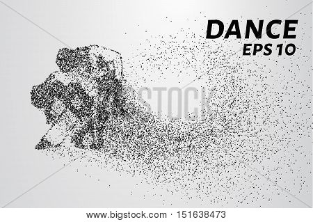 Dance of the particles. Couple dancing in a passionate dance. Vector illustration