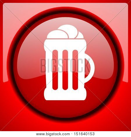 beer red icon plastic glossy button