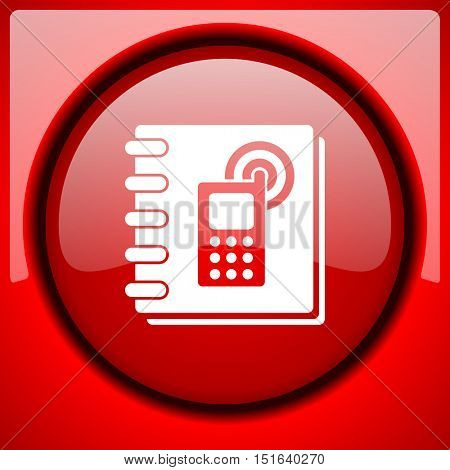 phonebook red icon plastic glossy button