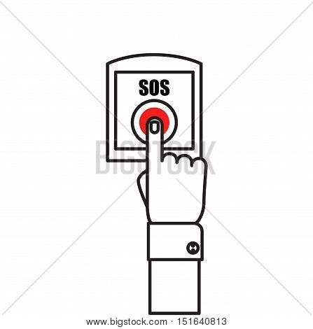 SOS button with hand vector illustration in flat style, finger presses the red button SOS. The concept of a request, call for help.