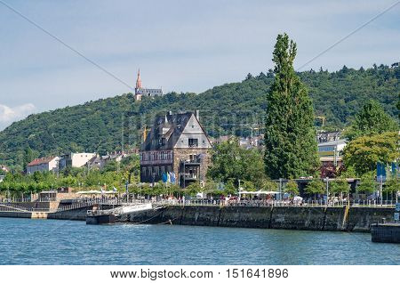 View on the landing place Bingen (Germany) with historical frame house from the Rhine River - 1st of August 2015, Bingen, Germany