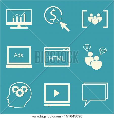 Set Of Seo, Marketing And Advertising Icons On Display Advertising, Focus Group, Video Advertising A