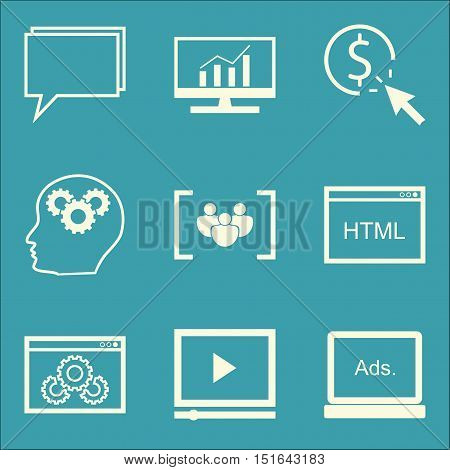 Set Of Seo, Marketing And Advertising Icons On Website Optimization, Video Advertising, Display Adve