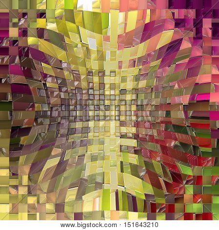 Abstract coloring background of the horizon gradient with visual mosaic, cubism,wave,pinch,spherize and plastic wrap effects