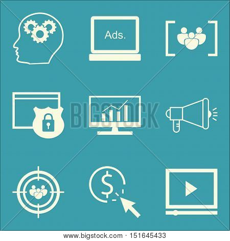 Set Of Seo, Marketing And Advertising Icons On Creativity, Display Advertising, Video Advertising An