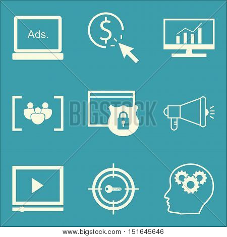 Set Of Seo, Marketing And Advertising Icons On Video Advertising, Display Advertising, Viral Marketi