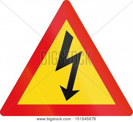 Temporary Road Sign Used In The African Country Of Botswana - Danger Of Electrical Shock