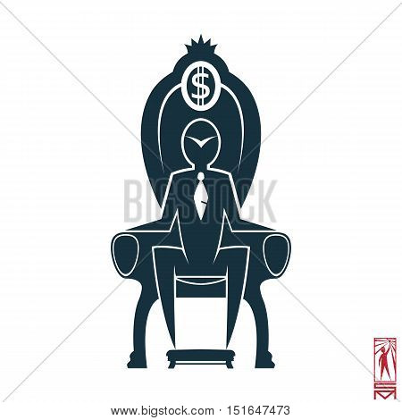 Man Person Basic body position Stick Figure Icon silhouette vector sign,businessman, tie, the chair, the throne, the dollar, a symbol of power, the crown