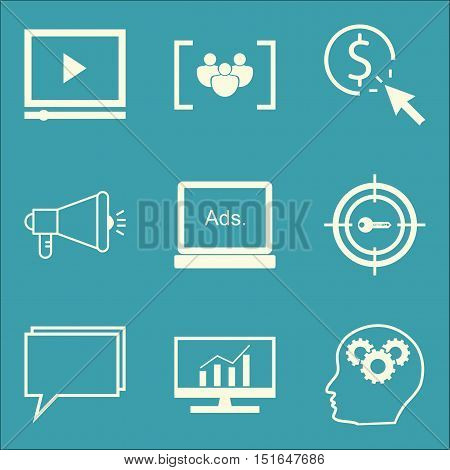 Set Of Seo, Marketing And Advertising Icons On Comprehensive Analytics, Display Advertising, Video A