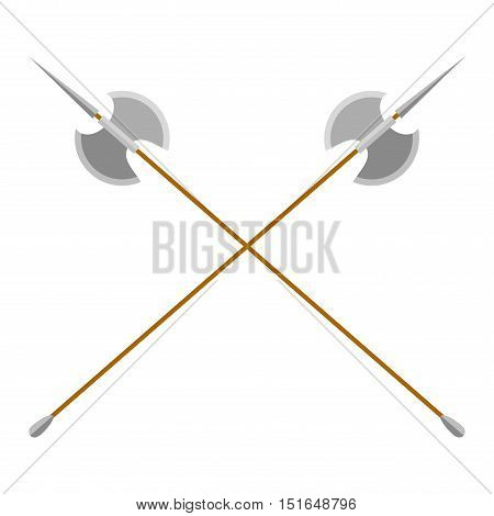 Axe steel isolated and sharp axe cartoon weapon icon isolated on white and wooden axe cartoon flat icon of handle wood work equipment vector illustration. Lumberjack axe