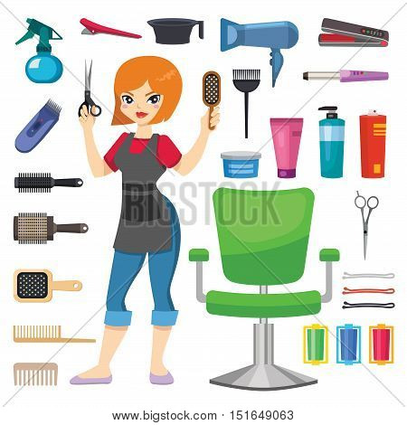 Cute girl hairdresser with hair clipper and hairbrush portrait in full growth isolated on white. Professional stylish hairdresser barber girl hair cutting tools. client mirror glamour barber girl. poster