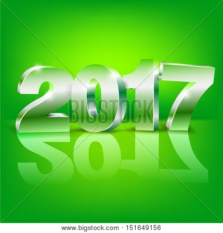 Happy New Year 2017 bright green colored greeting card vector template with 3D glossy numbers