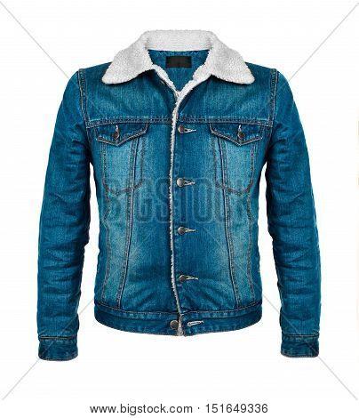 stylish denim jacket in the cool season isolated on white background