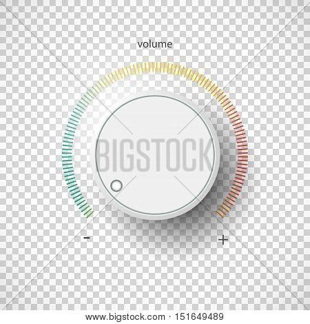 Realistic metal control panel tumbler. Music audio sound volume knob button minimum maximum level. Rotate switch interface stereo tuner. Design element Vector illustration eps10